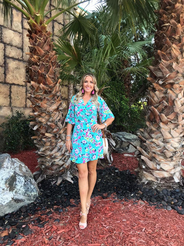 Frankie Dress in Aqua Floral