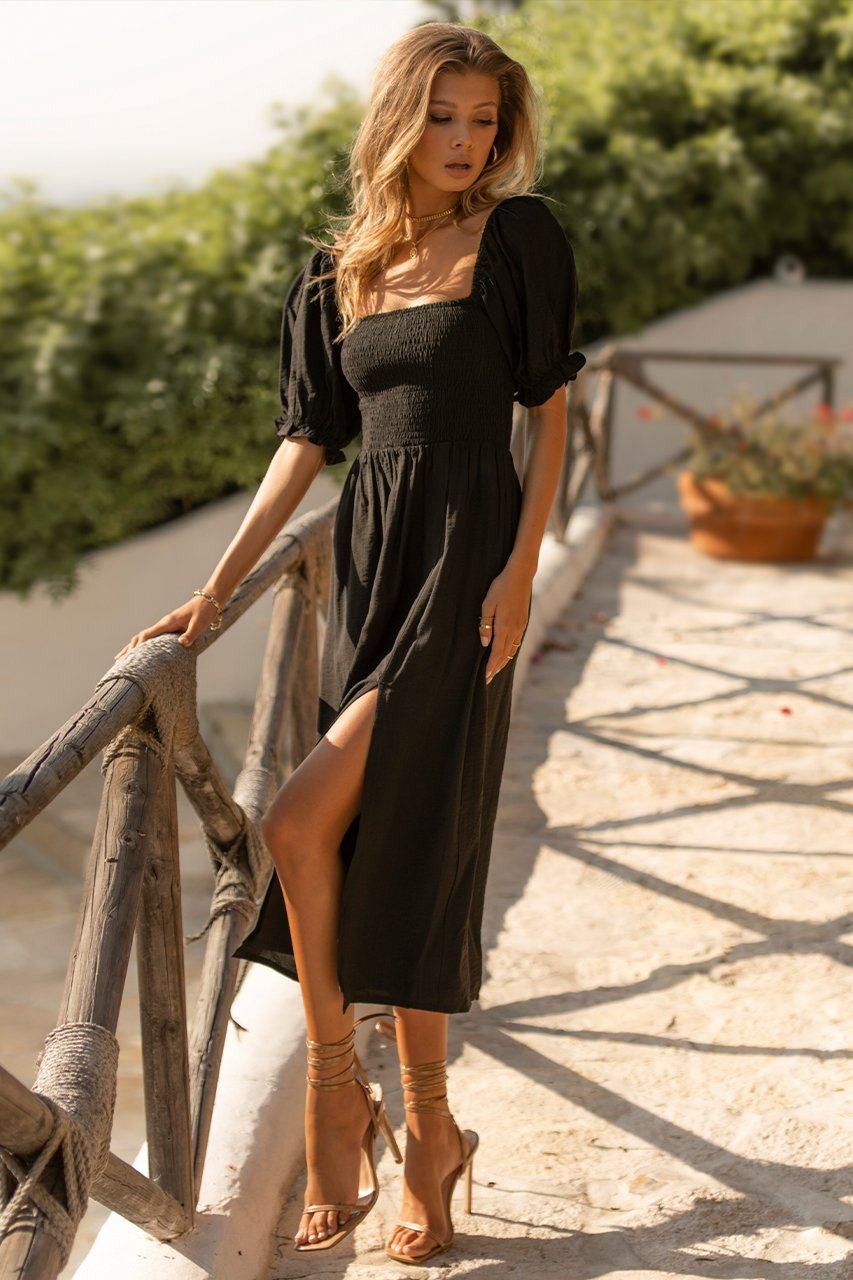 Brinley Midi Dress in Black