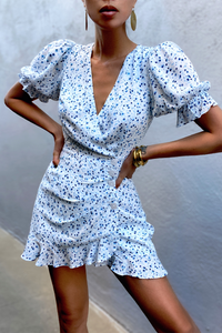 Cuesta Mini Dress in Blue Floral