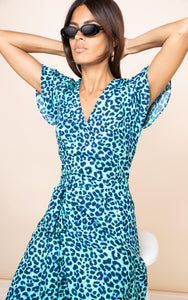 Cayenne Dress in Turquoise Leopard