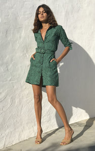 Jonah Mini Shirt Dress in Small Green Leopard