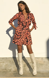 Jonah Mini Shirt Dress in Plorange Leopard