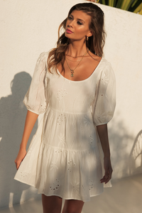 Knowles Babydoll Dress in White