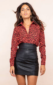 San Diego Shirt in Ruby Red Leopard