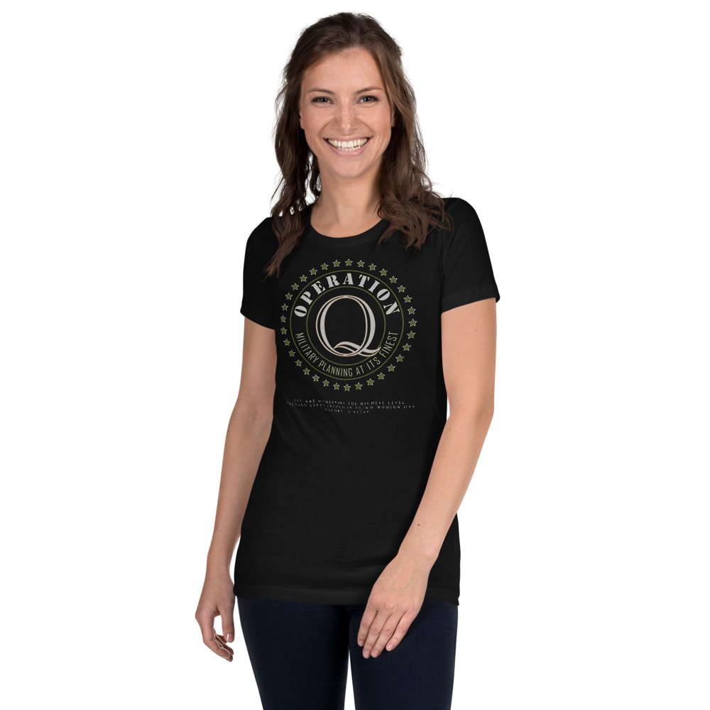 Operation Q | Back Tag Logo | Women's Slim Fit T-Shirt