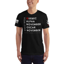 Load image into Gallery viewer, Quebec Alpha November Oscar November WWG1WGA | Sleeve Flag Logo | Unisex Jersey Tee