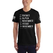 Load image into Gallery viewer, Distressed Quebec Alpha November Oscar November Subdued WWG1WGA | Subdued Sleeve Flag Logo | Unisex Jersey Tee