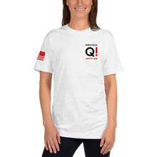 Load image into Gallery viewer, Switch Off Fake News, Switch On QAnon (Back) | Sleeve Flag | Unisex Jersey Tee