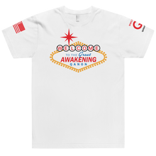 Load image into Gallery viewer, Welcome To The Great Awakening | Sleeve Flag Logo | Unisex Jersey Tee