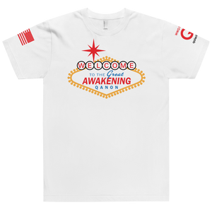 Welcome To The Great Awakening | Sleeve Flag Logo | Unisex Jersey Tee