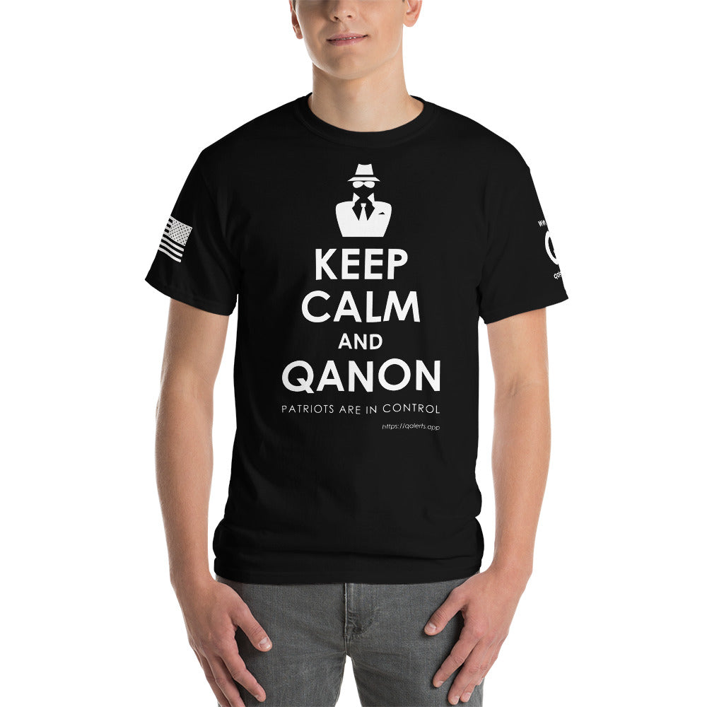 BIG & TALL: Keep Calm and QAnon | Sleeve Flag Logo Tee