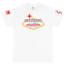 Load image into Gallery viewer, BIG & TALL: Welcome To The Great Awakening | Sleeve Flag Logo Tee