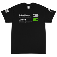 Load image into Gallery viewer, BIG & TALL: Switch Off Fake News, Switch On QAnon | Sleeve Flag Logo Tee