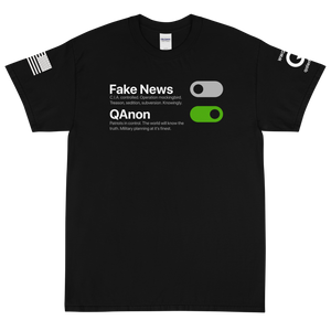 BIG & TALL: Switch Off Fake News, Switch On QAnon | Sleeve Flag Logo Tee