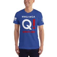 Load image into Gallery viewer, QAlerts.app | Sleeve Flag Logo, Back WWG1WGA | Unisex Jersey Tee