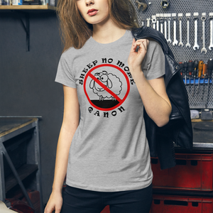 Sheep No More | Back Tag Logo | Women's Slim Fit T-Shirt