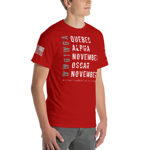 BIG & TALL: Distressed Quebec Alpha November Oscar November Subdued WWG1WGA | Subdued Sleeve Flag Logo