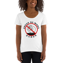 Load image into Gallery viewer, Sheep No More | Back Tag Logo | Ladies' Scoopneck T-Shirt
