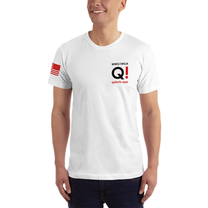Switch Off Fake News, Switch On QAnon (Back) | Sleeve Flag | Unisex Jersey Tee