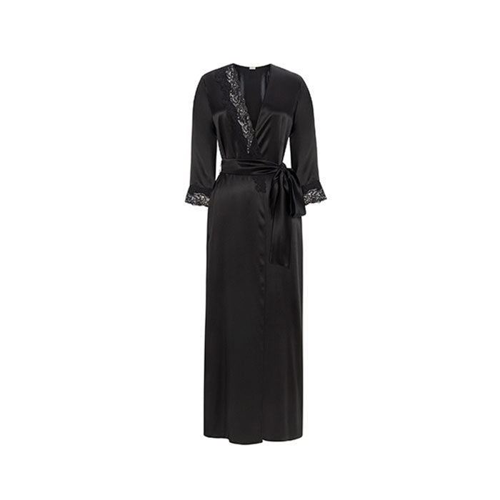 Diamond Black Silk Long Robe - Ipek Kiramer - Evellier