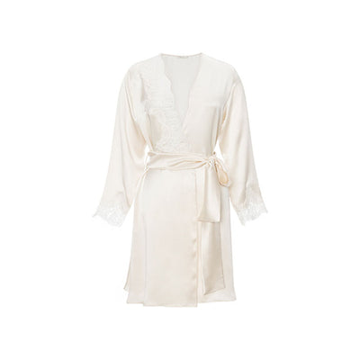 Diamond White Silk Short Robe - Ipek Kiramer - Evellier