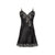 Diamond Black Silk Short Nightdress - Ipek Kiramer - Evellier