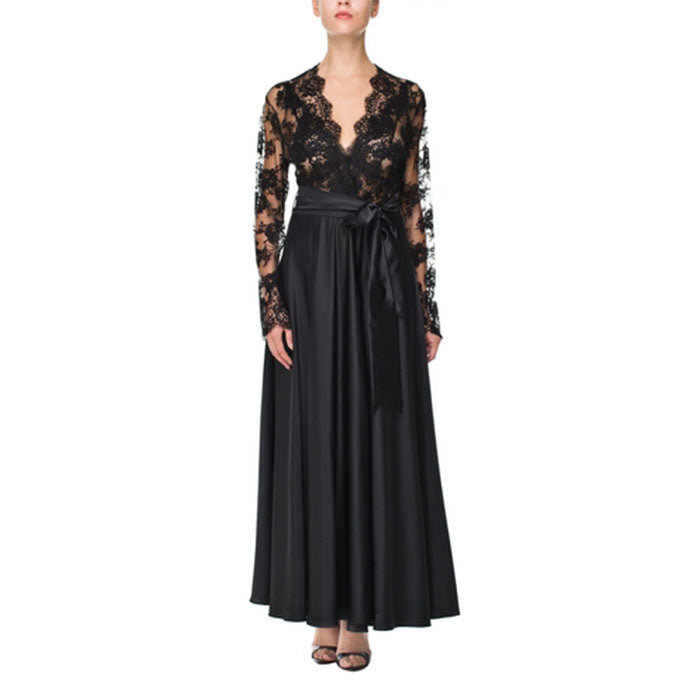 Vampy Black Laced Long Robe - Ipek Kiramer - Evellier