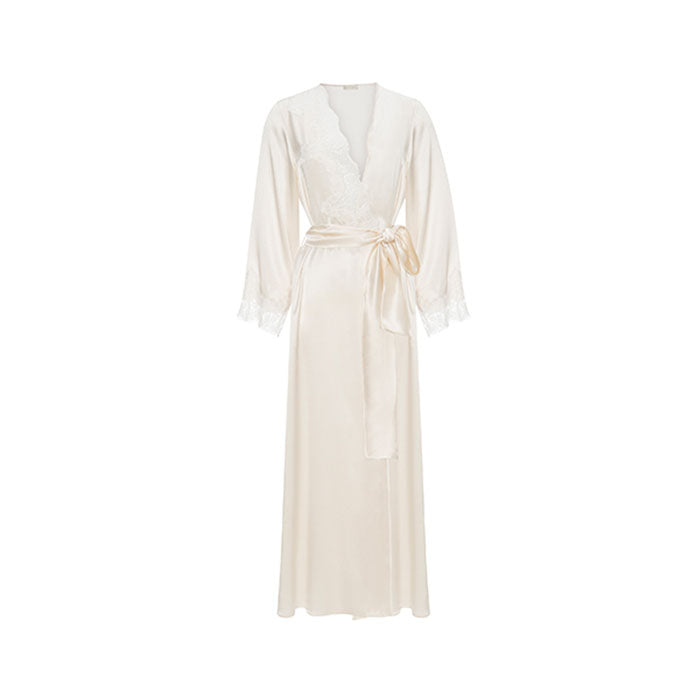 Diamond White Silk Long Robe - Ipek Kiramer - Evellier
