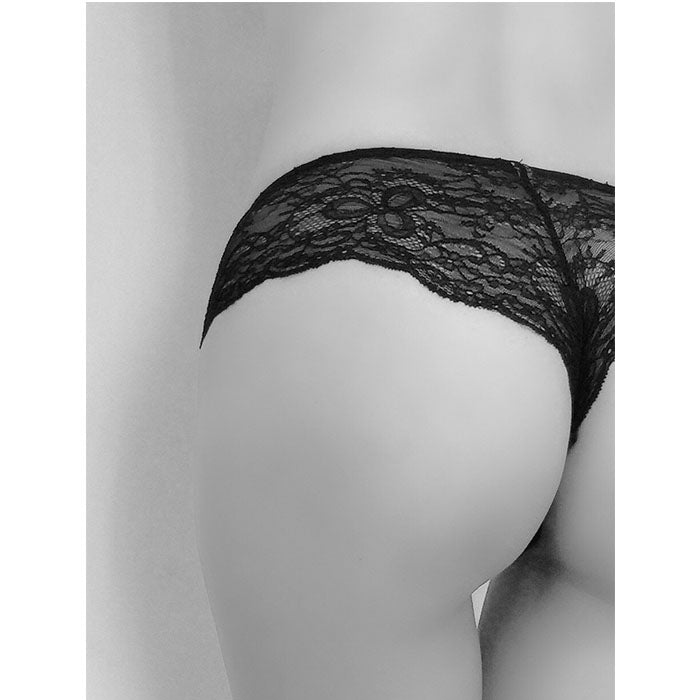 Stretch French Leavers Lace and Stretch-Silk Satin Thong - Sandra Silk - Evellier