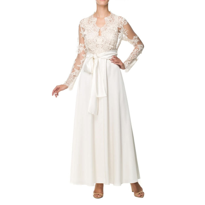 Vampy White Laced Long Robe - Ipek Kiramer - Evellier