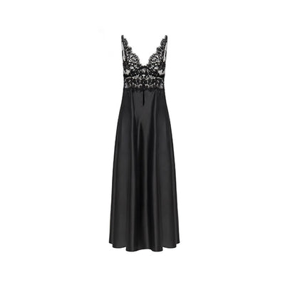 Vampy Black Laced Long Nightdress - Ipek Kiramer - Evellier