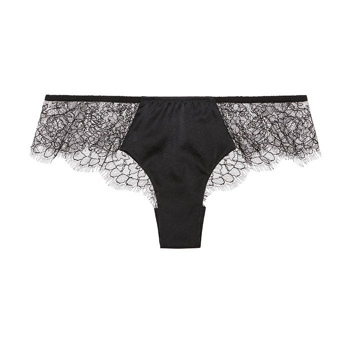 Sandra Signature Silk and Chantilly lace briefs Black - Sandra Silk - Evellier