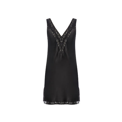 Joy-A Silk Black Short Nightdress - Ipek Kiramer - Evellier