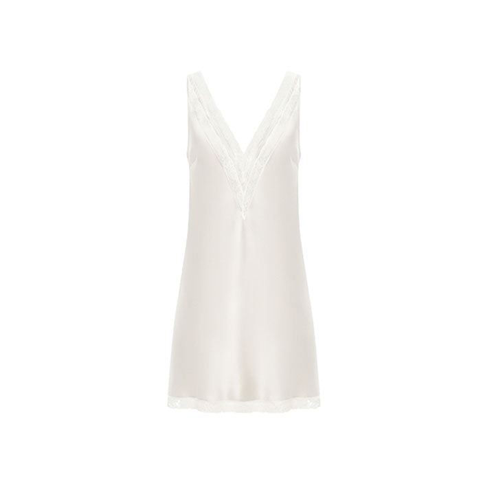 Joy-A Silk White Short Nightdress - Ipek Kiramer - Evellier