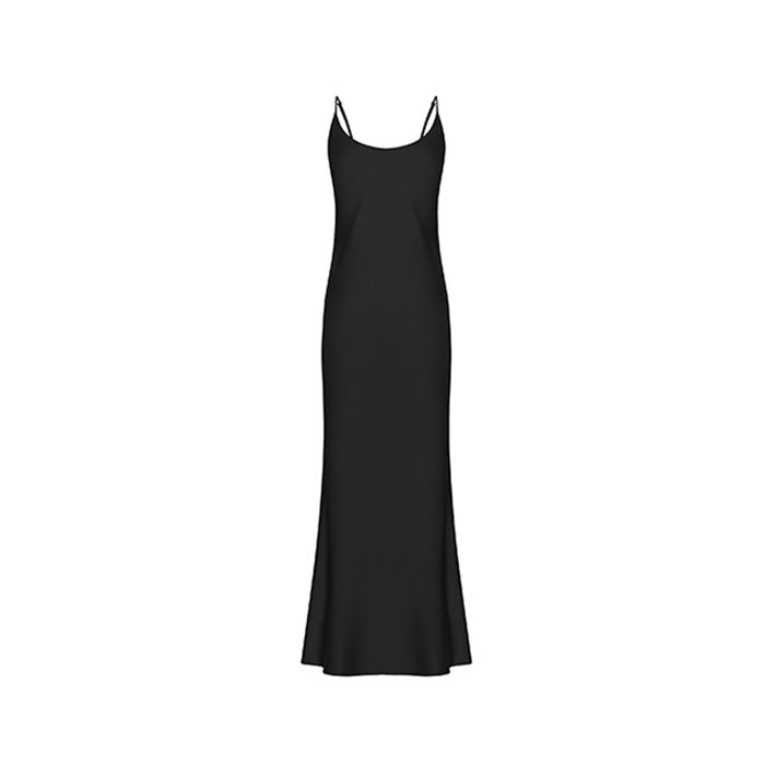 Street Style Black Silk Dress - Ipek Kiramer - Evellier