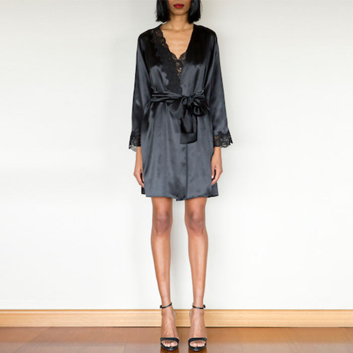 Diamond Black Silk Short Robe - Ipek Kiramer - Evellier