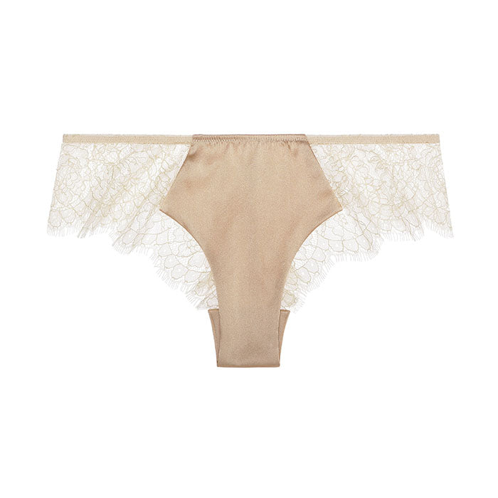 Sandra Signature Silk and Chantilly lace briefs Beige - Sandra Silk - Evellier