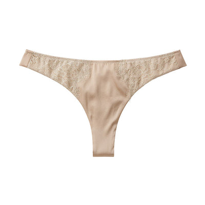 Sandra Signature Silk Thong with French Chantilly lace - Sandra Silk - Evellier