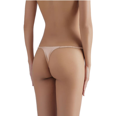 Sandra Signature Silk G-string with French Chantilly Lace Peach - Sandra Silk - Evellier