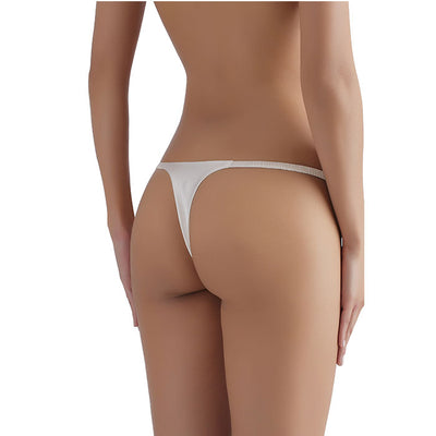 Sandra Signature Silk G-string with French Chantilly Lace White - Evellier