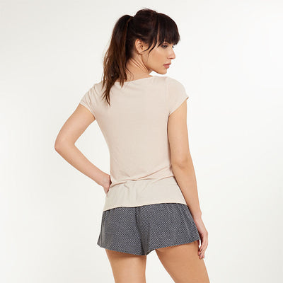 Moon Top Short Sleeve with Tie Bow - Lingadore - Evellier
