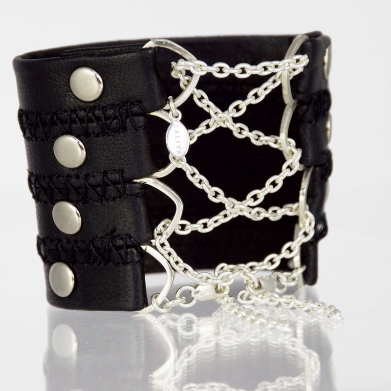 Stitched Leather Corset Cuff with Sterling Chain - Lalita - Evellier