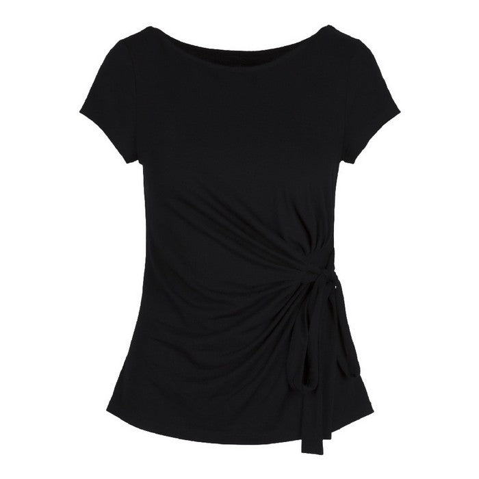 Top Short Sleeve with Tie Bow Black - Lingadore - Evellier