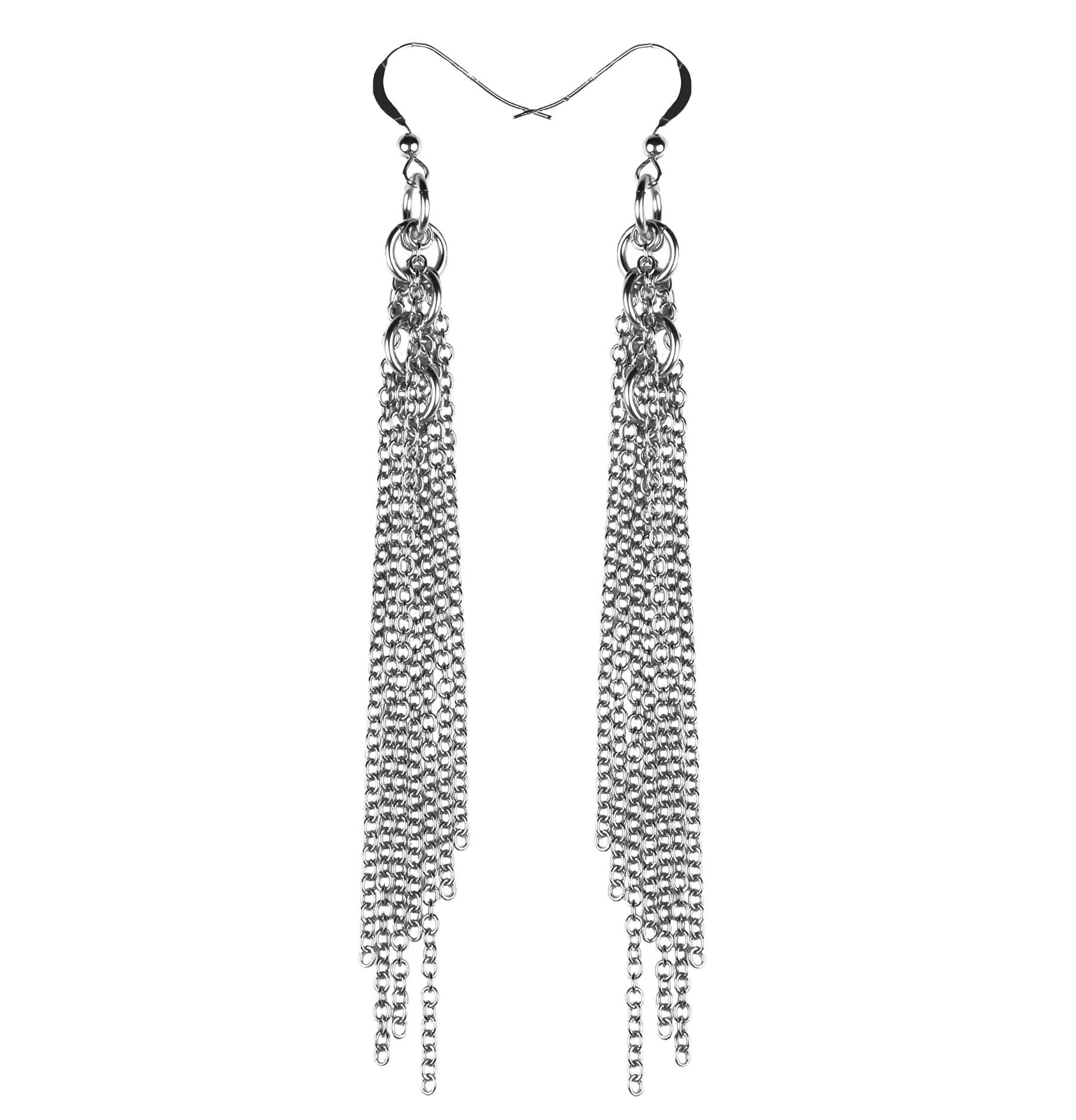Sterling Circle Fringe Earrings - Lalita - Evellier
