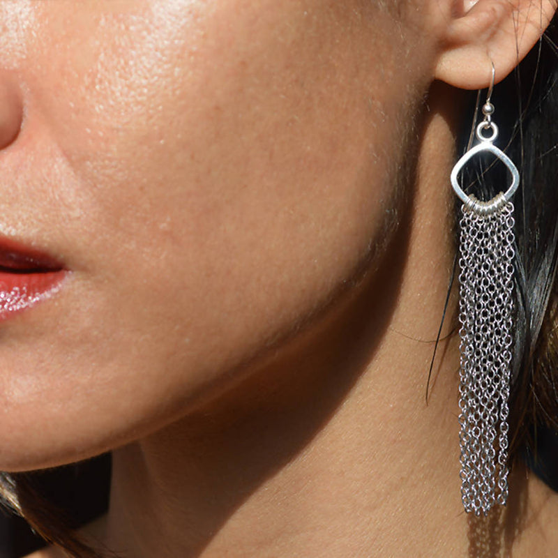 Sterling Fringe Earrings - Lalita - Evellier