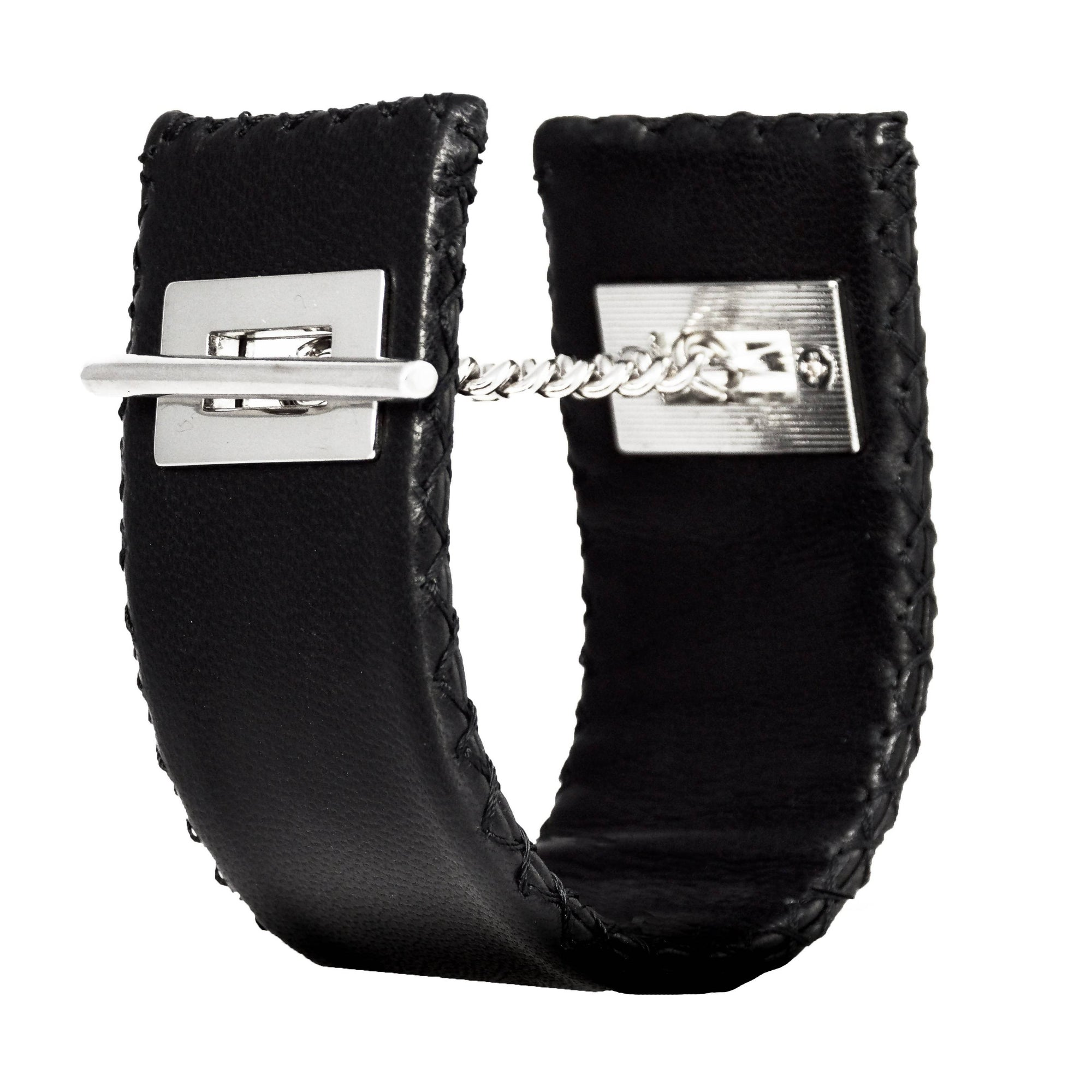 Stitched Leather Cuff Bracelet - Lalita - Evellier