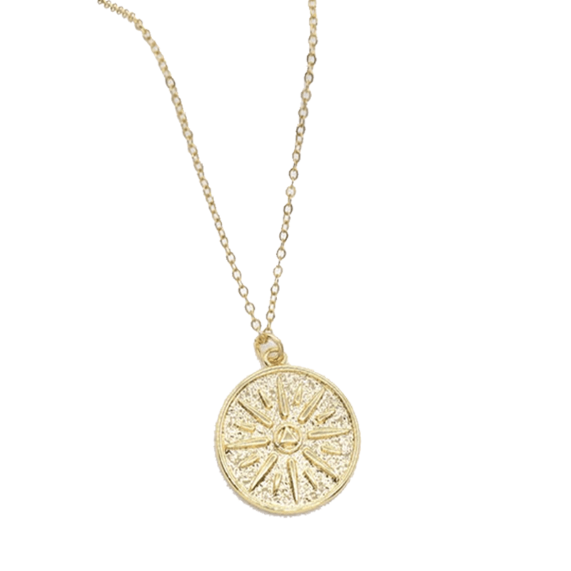 sun pendant necklace in gold
