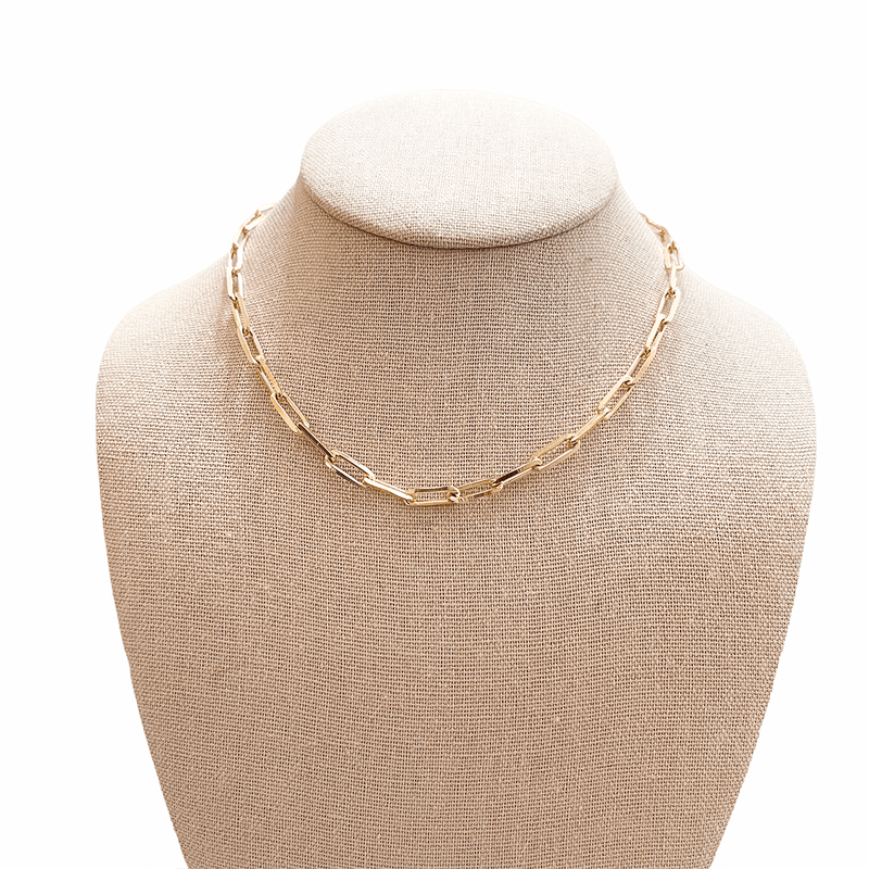 paperclip link necklace in gold on mannequin