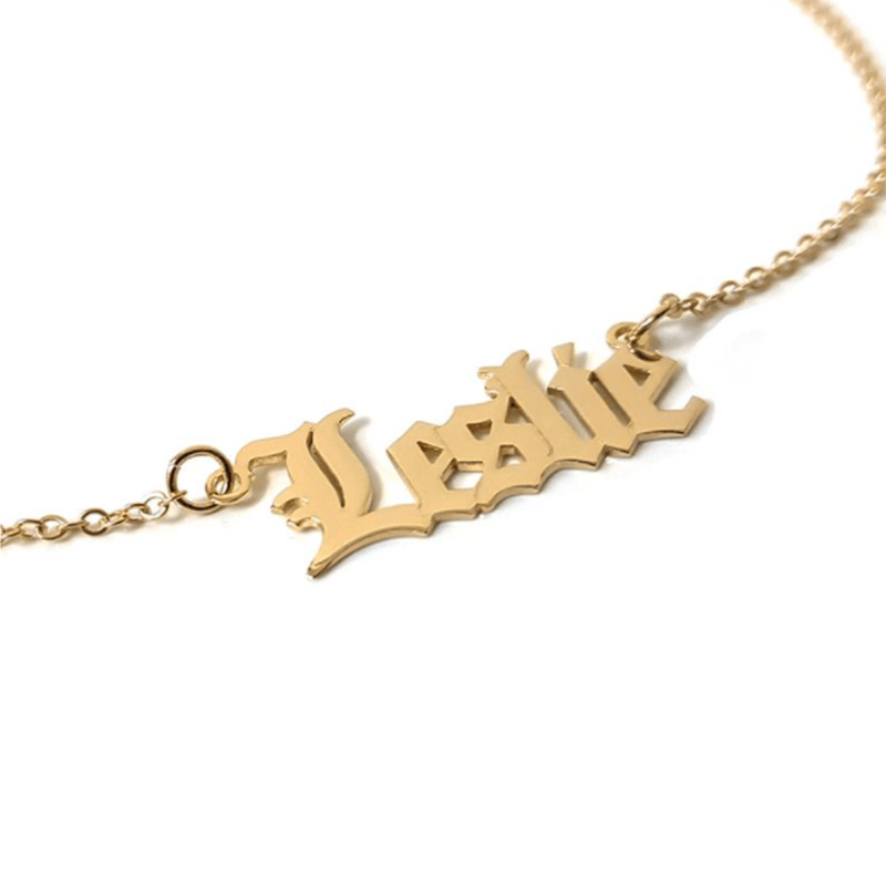 my name necklace on white background