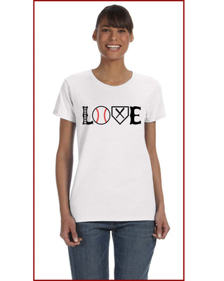 Ladies Baseball LOVE Tee
